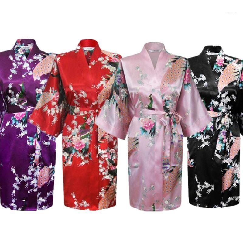 Kimono платье японский стиль павлин цветочный принт атлас свободно традиционные пижамы, хаори азиатская одежда Pajamas купальника Robe1