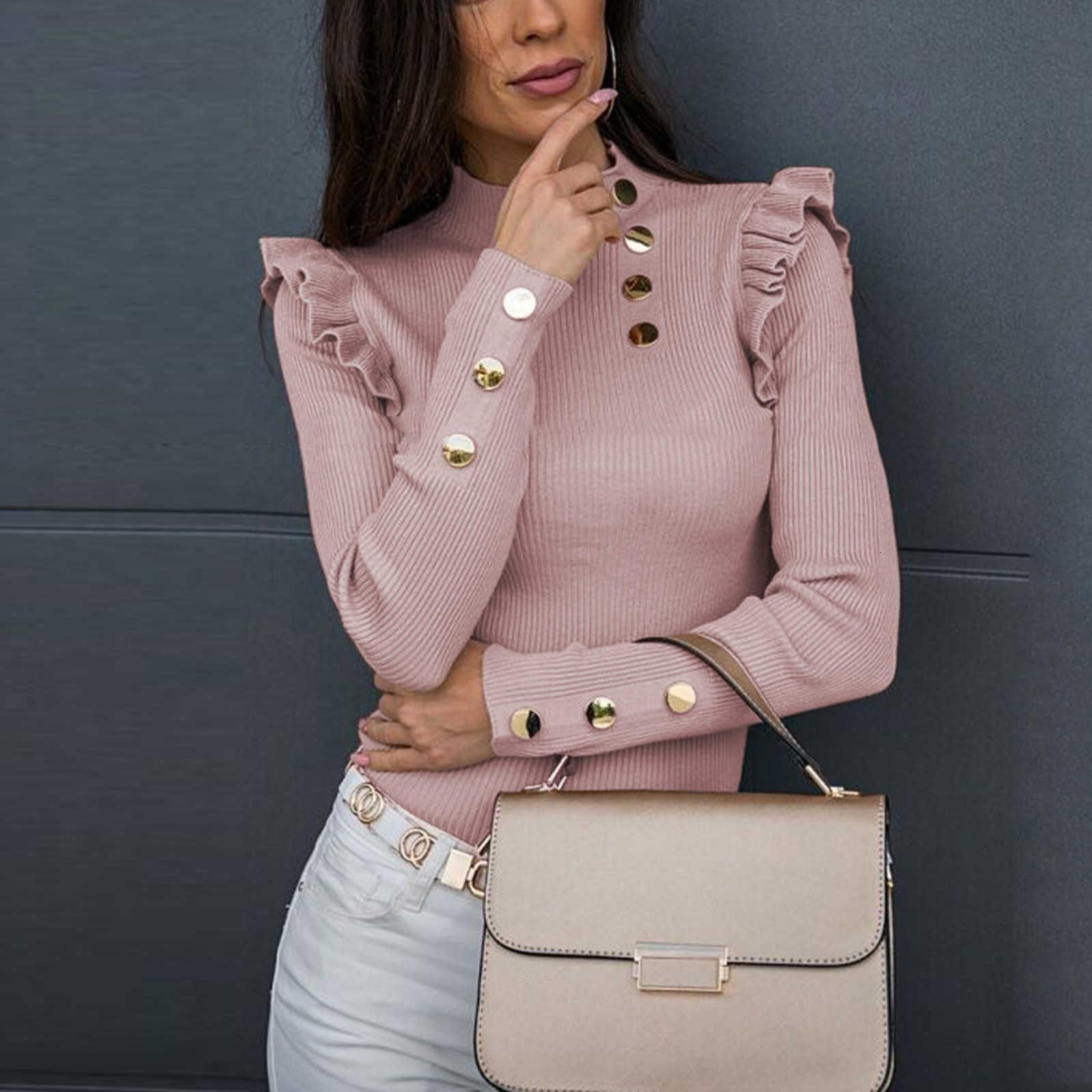 4 # 2021 Spring Automne Chemises pour femmes T-shirts à manches longues Bouton à manches longues Splicing Sexy Slim Blanc Slim Bla Khaki Pullover Blouses Tops