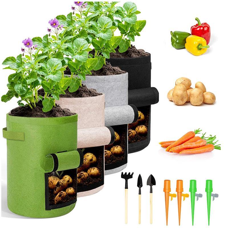 식물 성장 가방 집 정원 감자 냄비 온실 야채 성장 가방 보습 jardin 수직 정원 가방 vtky2124