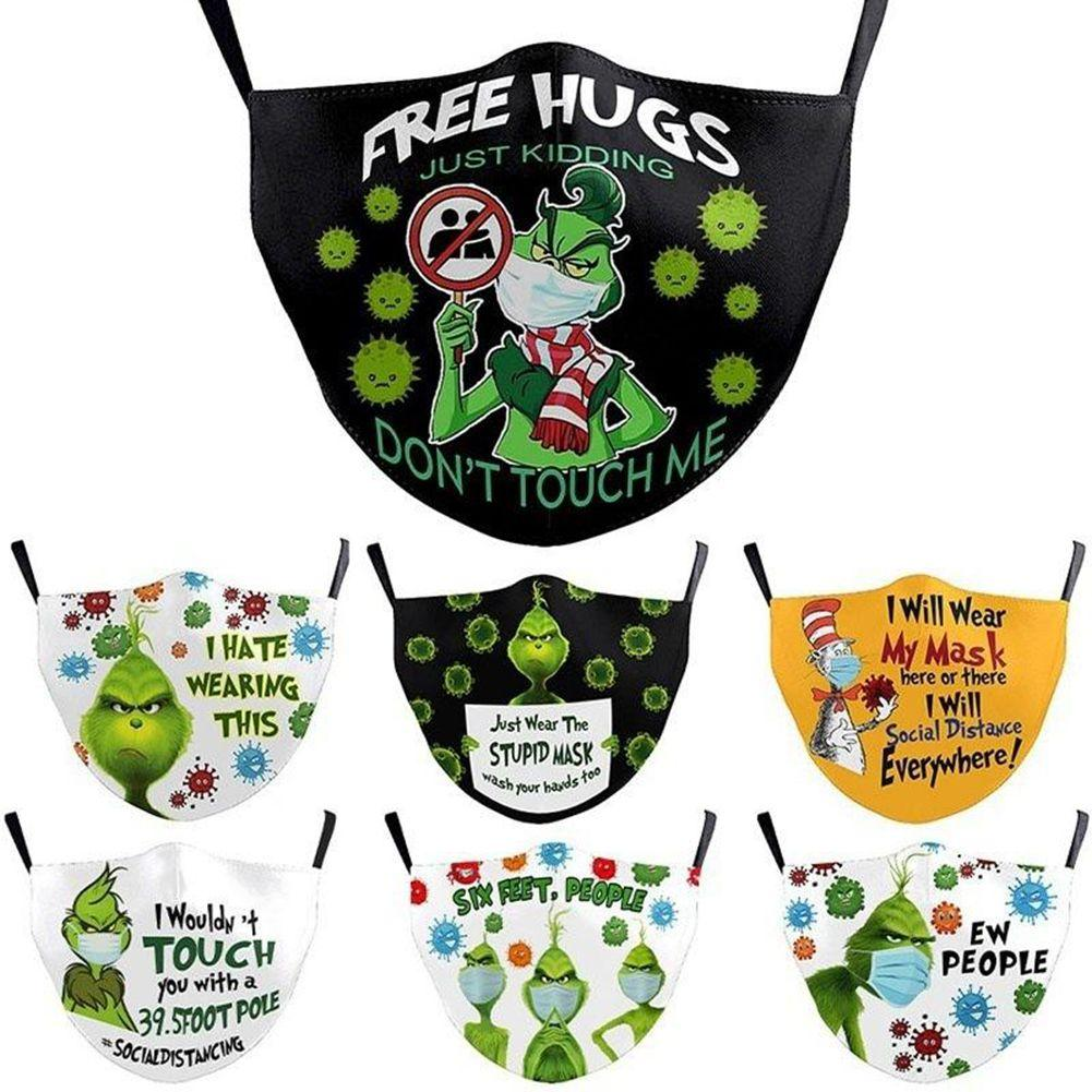 200pcs Grinch Stole Christmas Styles 3D Print Face Masks Reusable Washable Dust Proof Cute Fashion Face Mask Ice Silk Mask DHL Shipping