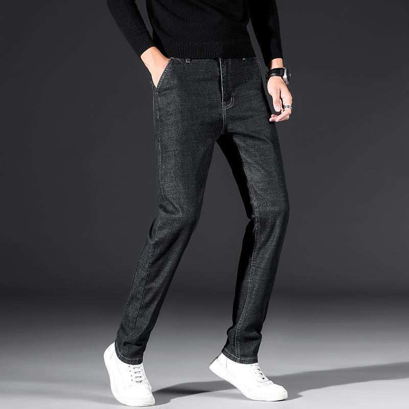Männer Herbst und Winter lässige Jeans Business casual gerade Strecke Herren-Denim-Hosen Große Größe 40 42