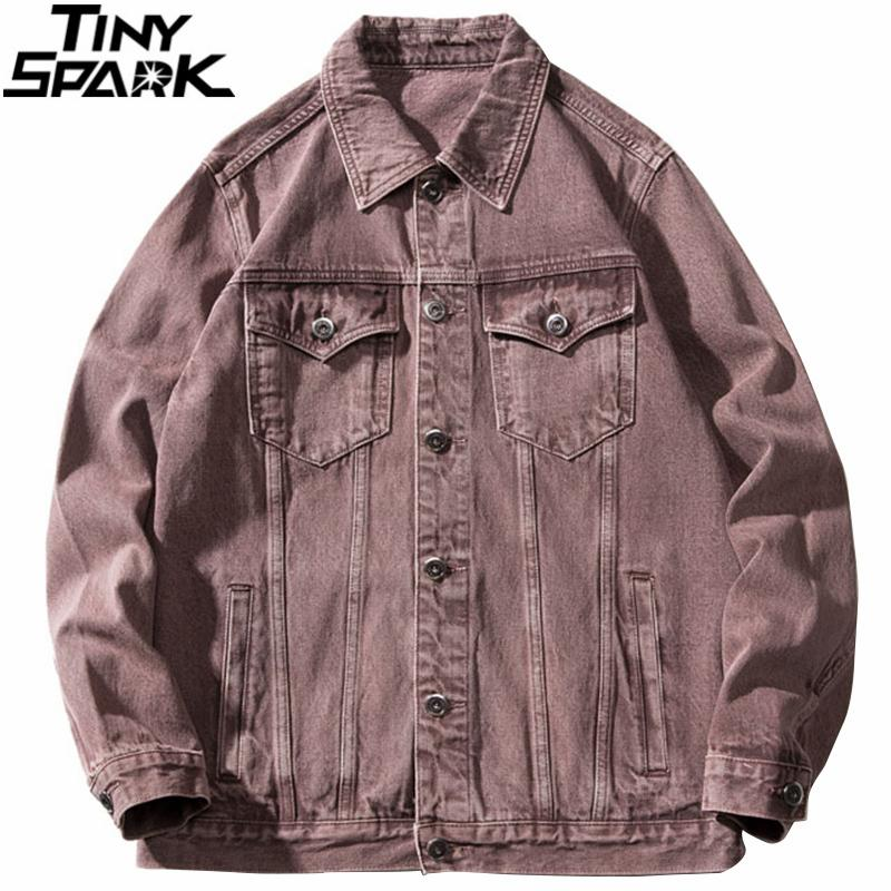 Hip Hop Hommes Harajuku Denim Streetwear Veste Retro Vintage lâche Bomber Jacket Denim 2020 Veste en coton Washed Automne Manteau Jean C1108
