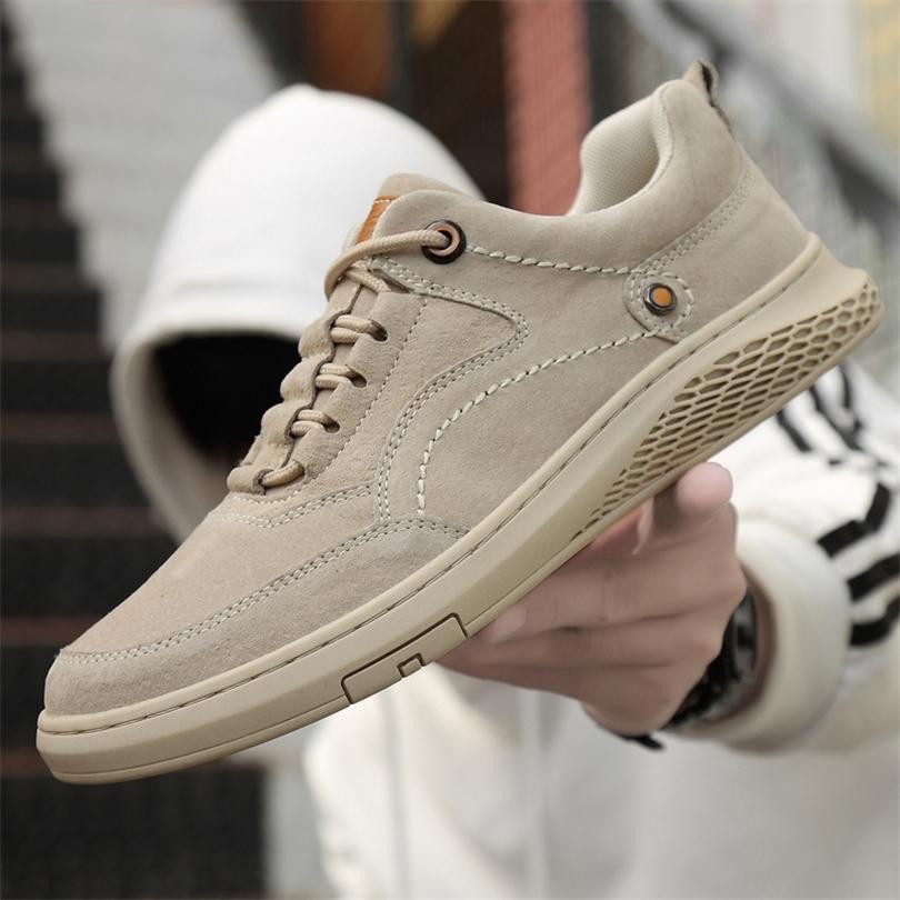 Quaoar Männer Schuhe Mode Echtes Leder Müßiggänger Atmungsaktiv Herbst Lace Up Komfortable Freizeitschuhe Outdoor Männer Sneakers Schuhe 201221
