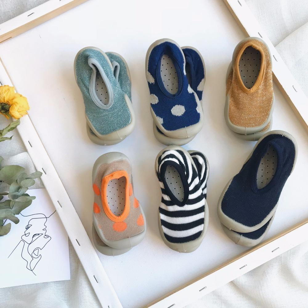 Non -Slip Children Indoor Shoes Home Casual Slippers Baby Toddler Boy Socks Girl House Sneakers Kids Elastic Fabric Knitted Shoes