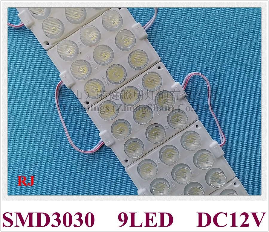 injeção módulo de luz LED com lente DC12V SMD 3030 9LED 5W 75 milímetros * 60 milímetros LED luz de volta para a letra do sinal e caixas de iluminação