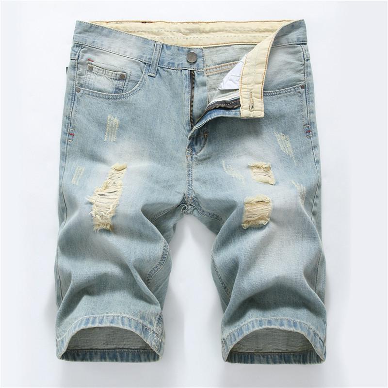 Moda Erkek Şort Jeans Sıkıntılı Yırtık Biker Slim Fit Motosiklet Biker Denim Erkekler Için Moda Mavi Kısa Pantolon JS59 Mans