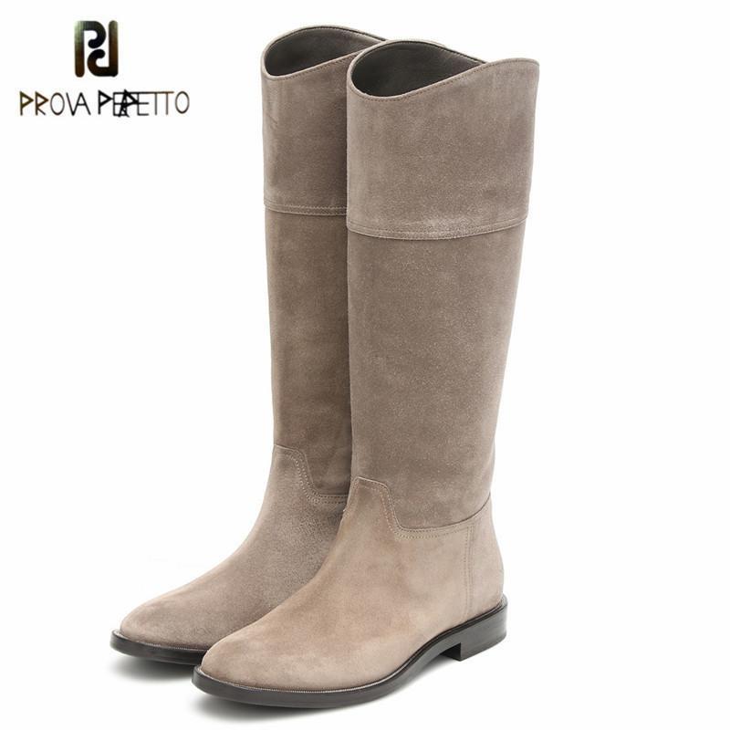 Prova Perfetto Classics Office Lady couro genuíno Sólido Toe botas altas da coxa Rodada de Mulheres Cor Low Heel Deslizamento-em calçados casuais