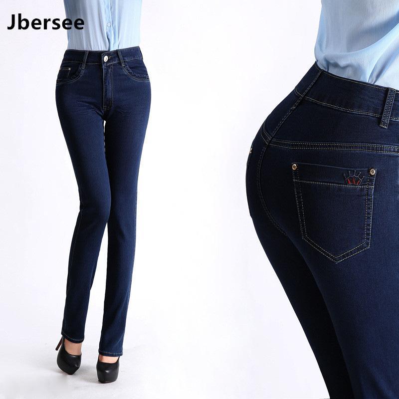 Jbersee de gran tamaño Jeans Otoño Nueva altura de la cintura de los pantalones vaqueros del estiramiento delgado pantalones rectos pantalones casuales de la mujer pantalones vaqueros de las mujeres A1112