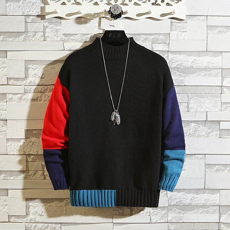 2020 nuevos suéteres negros de punto Corea Hombres Turtuelas Mangas largas Mangas largas Otoño Invierno Punto de punto O-cuello más de gran tamaño 5XL 6XL 7XL