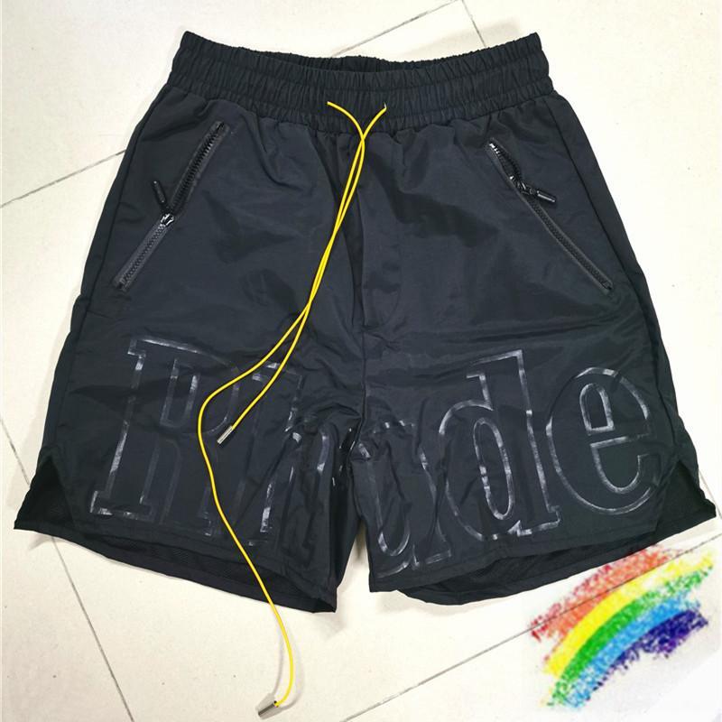 Pantalones cortos para hombres mujeres grandes letra shorts verano casual sobresaldo de pez puerta amarillo cordón amarillo cremallera