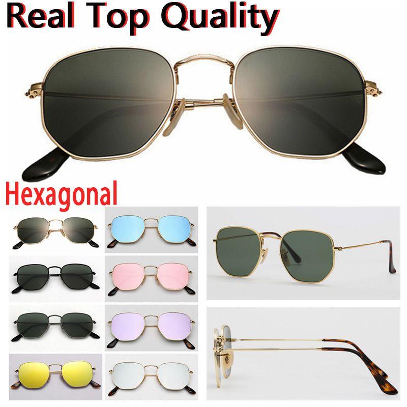 Desenhador Óculos de sol hexagonal lentes de vidro liso homens mulheres macho óculos de sol femininos com case de couro marrom ou preto, todos os acessórios de varejo!