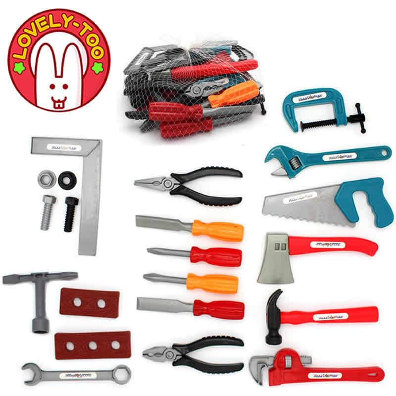 28PCS Boys Toy Kids Tools Set Repair Drill Screwdriver Ax Carpentry Play Garden Game Pretend Play For Children Educational Gifts LJ201007