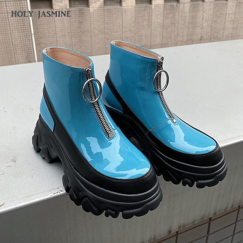Winter Platform Boots Gothic Women Round Toe High Heel Boots Fashion Plus Size Square Heels Shoes Zapatos De Mujer 2020 Winter