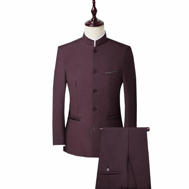 3 piece Gli uomini del vestito di stile cinese del collare del basamento del vestito da sposa sposo maschio Slim Fit Plus Size 4XL Blazer Set smoking (Jacket + Pant + Vest) F60n #