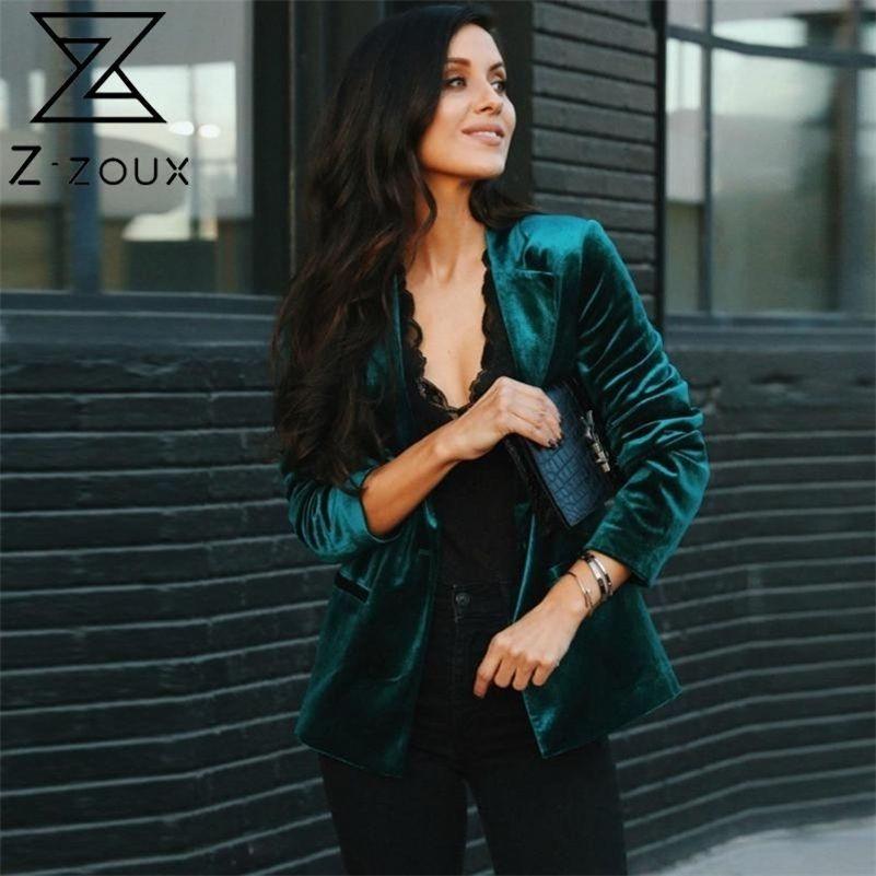 Z-Zoux Women Blazer Velvet Blazer Coat Single Breasted Manga Larga Damas Black Blazer Chaqueta Moda Mujer Slim Traje Jacket 20114