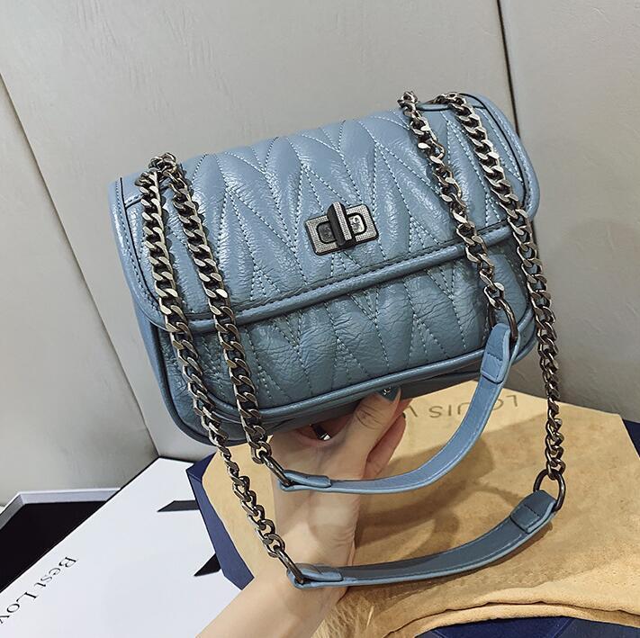wholesal women handbag high quality leather fashion messenger bag elegant atmosphere striped shoulder bag new simple Joker leather chain bag