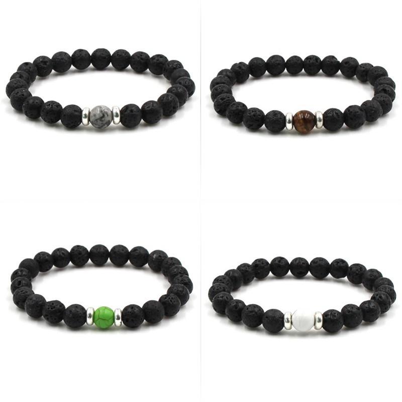 Perles de pierre de lave Bracelets Naturel Noir Huile Essential Diffuseur Elastic Bracelet Volcanique Rocher Cordes à la main Yoga Chakra 85 L2