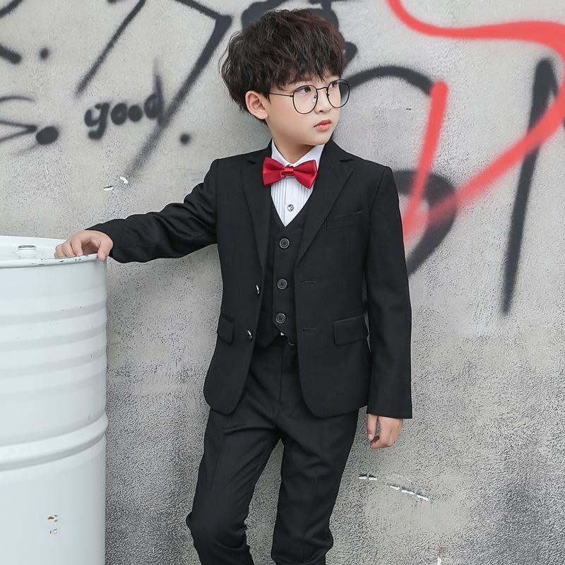 4PCS Enfants Garçons Costumes Blazers Noir mariage formel Smokings école Habits de fête chez les adolescentes Mode Flower Boy Costume Blazer pour garçon