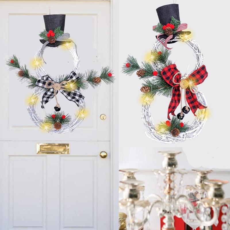 Noël Accrocher décoration lumières LED bonhomme de neige de Noël Couronne en rotin Cercle Porte Accueil Arbre Décoration