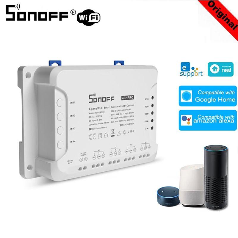 Sonoff 4ch R3 / 4CH PROR3 4 Channel WIFF WIFI Switch Smart Home Timing Timing Télécommande Travaux avec Alexa Google Home Ewelink App Module