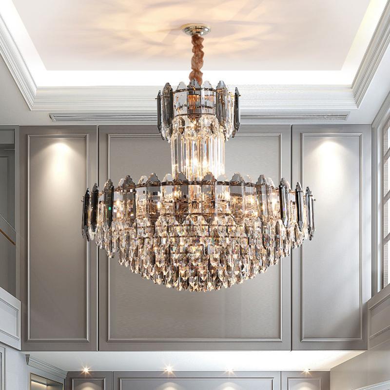 De nouveaux feux de lustre en cristal de design pour villa hall de l'hôtel de luxe vivant suspendu chambre lampes fumeuses éclairage pendentif en cristal fin de haute