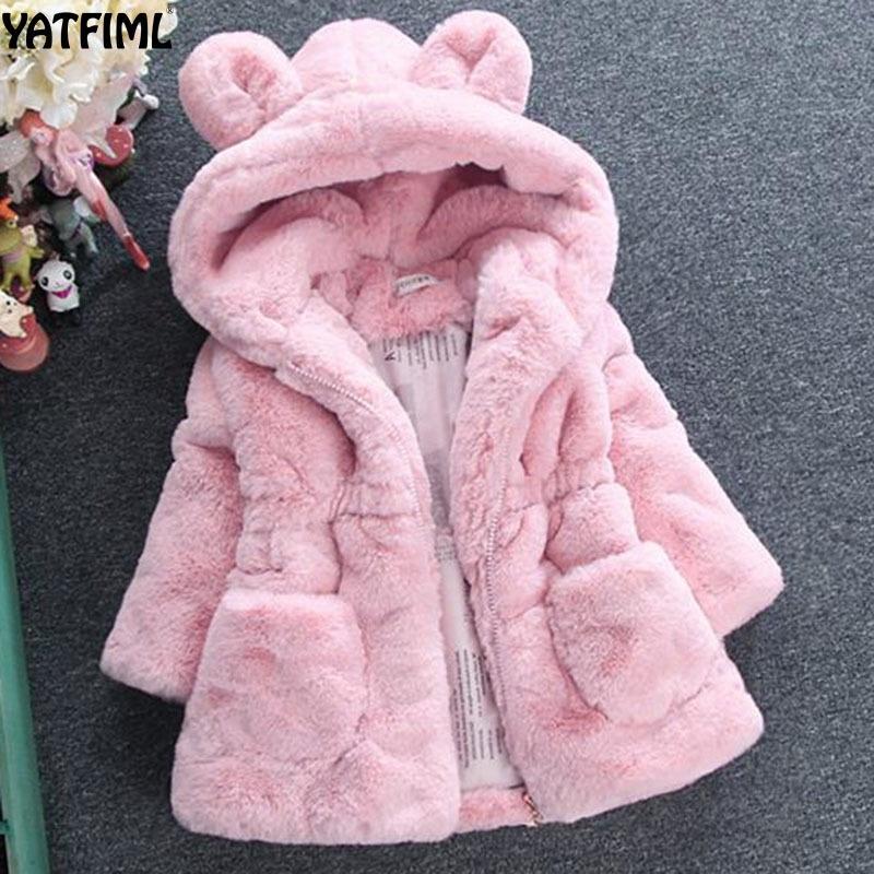 Yatfiml moda autunno inverno inverno giacche di pelliccia finta con cappuccio abiti spessi isolato giacca da bambino ragazze cappotto di lana 0-6t 201106