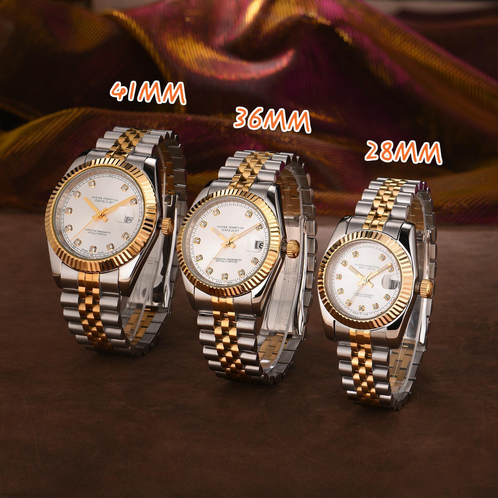 Nuova Montre de Luxe Mens Automatic Gold Watch Watch Donne Delle Donne Vestito pieno di acciaio inox Acciaio inossidabile Waterproof Style Couples Style Classic Orologi classici
