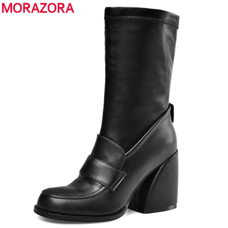Botas Morazora Tamanho Grande 35-44 Mulheres Hoof High Saltos Outono Inverno Zipper Esticamento Meados de Bezerro