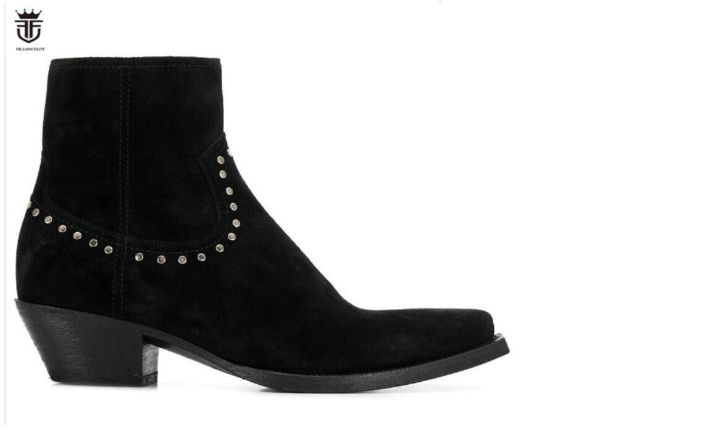 2020 Mode-Stil Männer beuten Spitzen-Bolzen-Boots seitliche Reißverschluss Nieten Leder Ferse Stiefel Punkt Zehe der Männer Partei Schuhe Wildleder