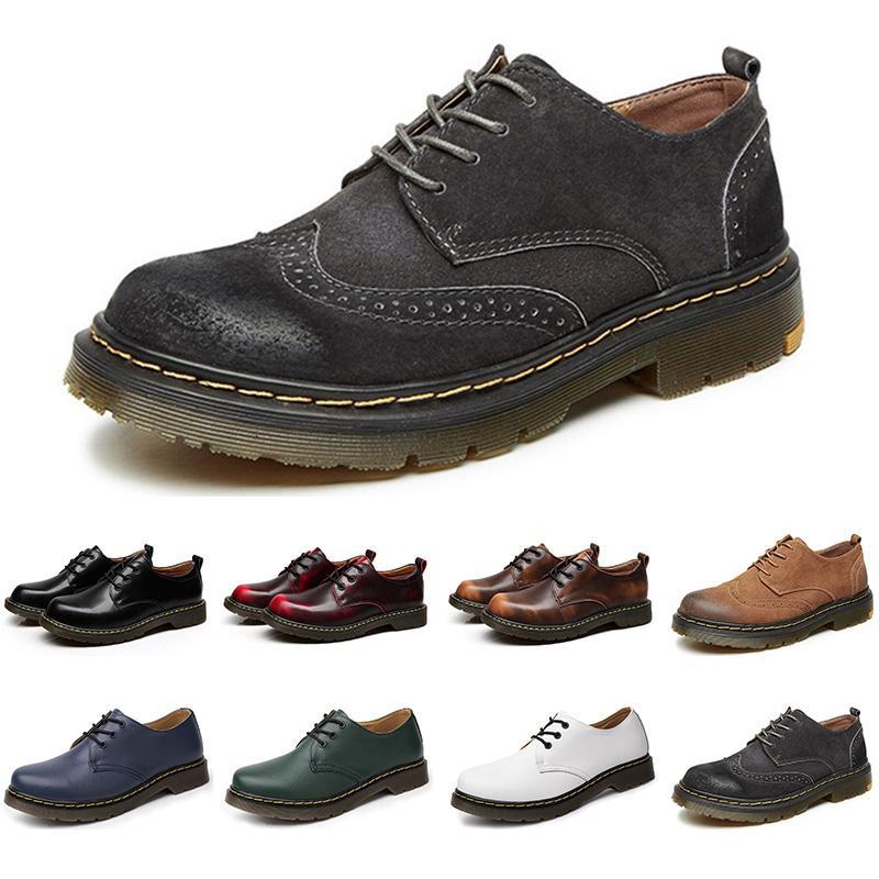 Venta caliente 2020 diseñador zapatos casual hombres de cuero negro blanco azul para hombre formadores de color marrón partido plana plataforma de la moda de negocios la zapatilla de deporte