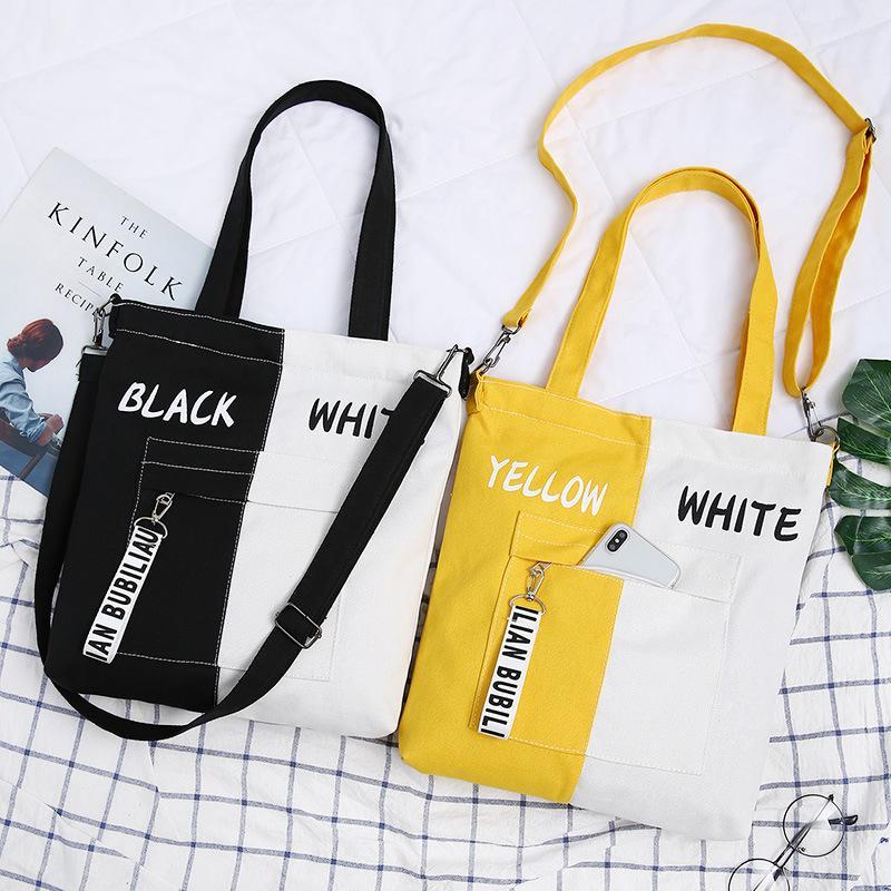 2019 New Brand Shopping Bag Casual Borsa a tracolla borsa di tela dell'annata della donna di cotone Semplice Grande panno Shopper Bags Beach Totes