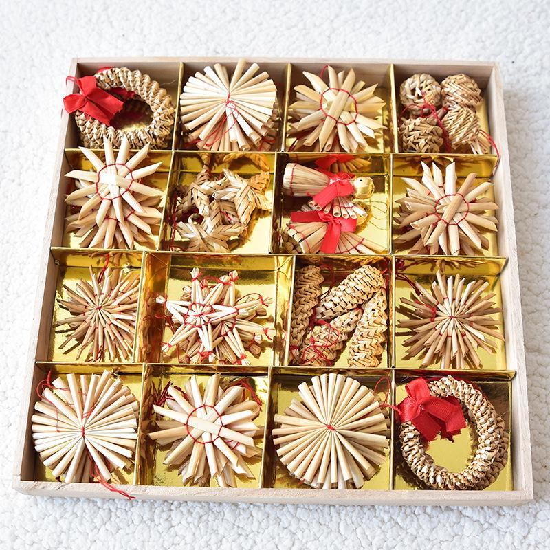 Simples 1Set Natural Palha de trigo Pingentes Xmas Decoração Mini de cinco pontas pendurado ornamentos Estrela Kit DIY Decor Árvore de Natal