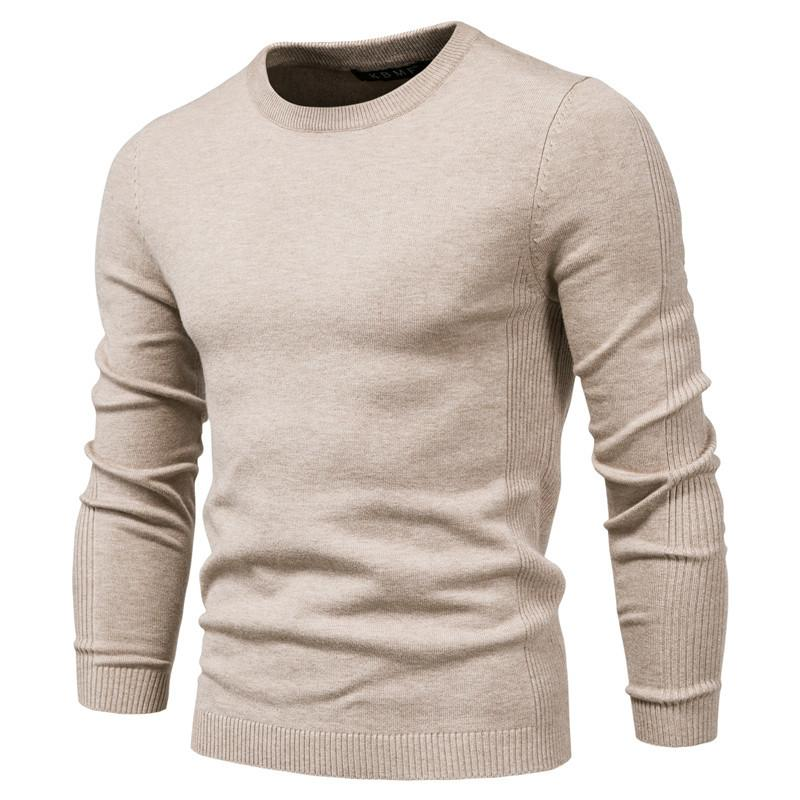 2020 Nuevo Invierno Grosor Pullover Hombres O-cuello del color sólido de manga larga Caliente Tire suéter delgado suéteres de los hombres de los hombres de ropa masculina