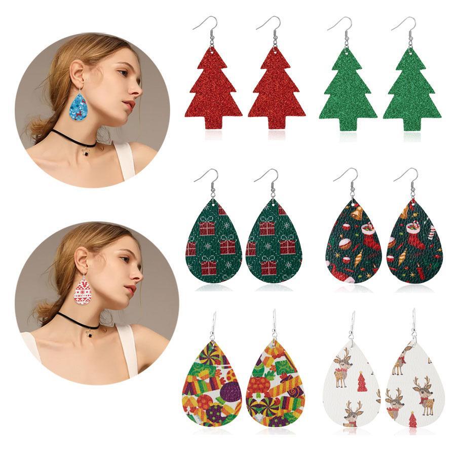 Mode Weihnachtsschneeflo Elk Print Leder Ohrringe für Frauen Double Side baumeln Ohrringe Oval Wassertropfen PU-Leder-Partei Schmuck