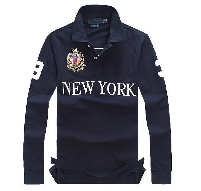 De haute qualité 100% coton hommes manches longues Polo T-shirt à la mode en coton technologie de broderie polo t-shirt décontracté