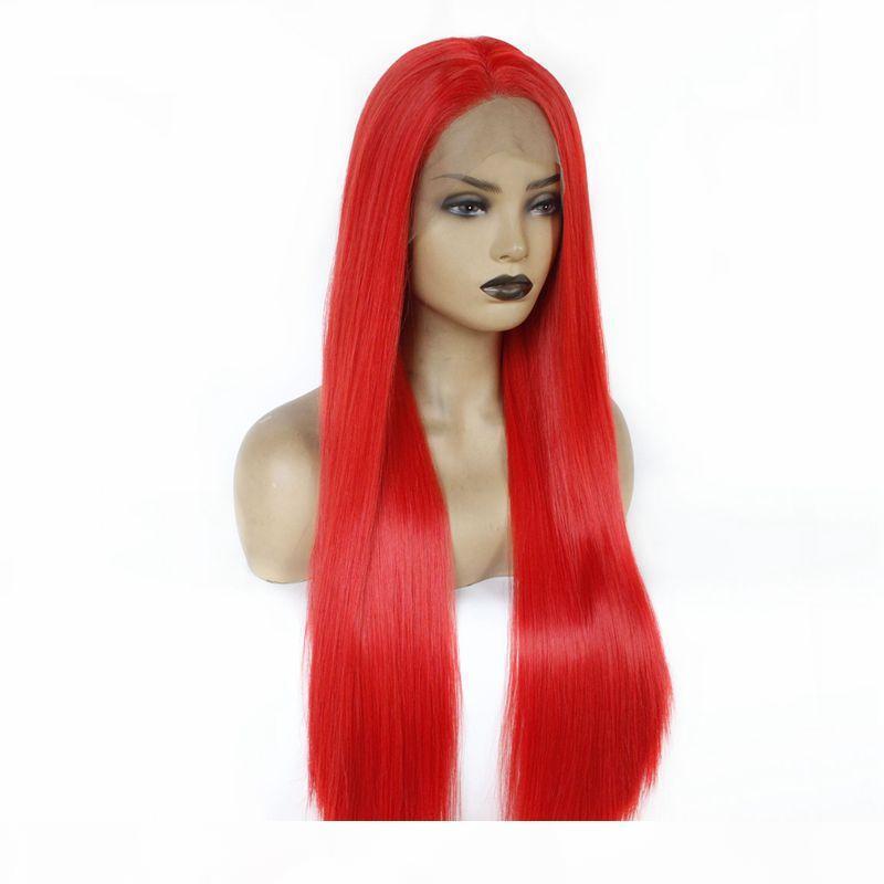 مثير تأثيري الأحمر اللون طويل حريري مستقيم الاصطناعية الباروكات مقاوم للحرارة الجبهة الرباط الباروكات للنساء