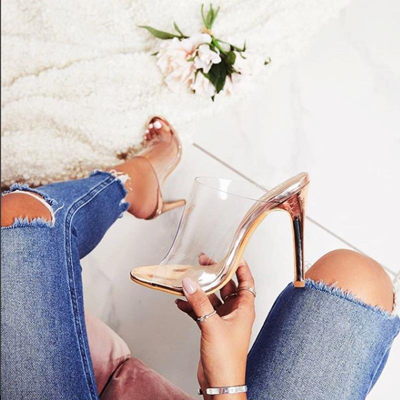 Women Slippers Shoes Woman Sandals High Heels Pumps PVC Transparent Clear Heels Open Toe Shoes Jelly Slides Champagne1