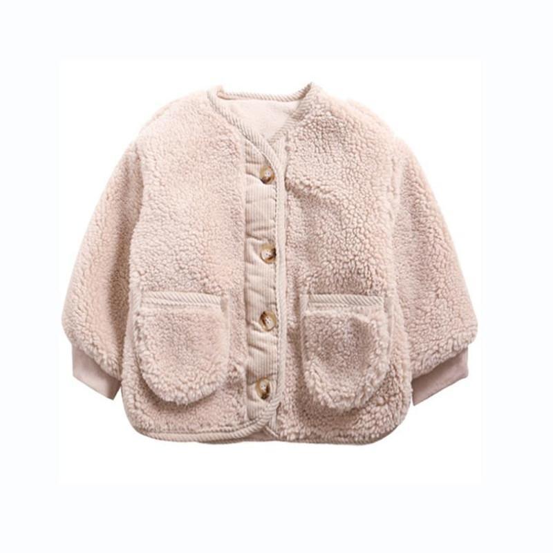 Kış toodler Erkekler Kızlar Tok Tek göğsü Kalınlaşmak Kuzu Hırka Coat Kore Çocuklar Sıcak Dış Giyim İçin 1-8Yrs Çocuk Giyim