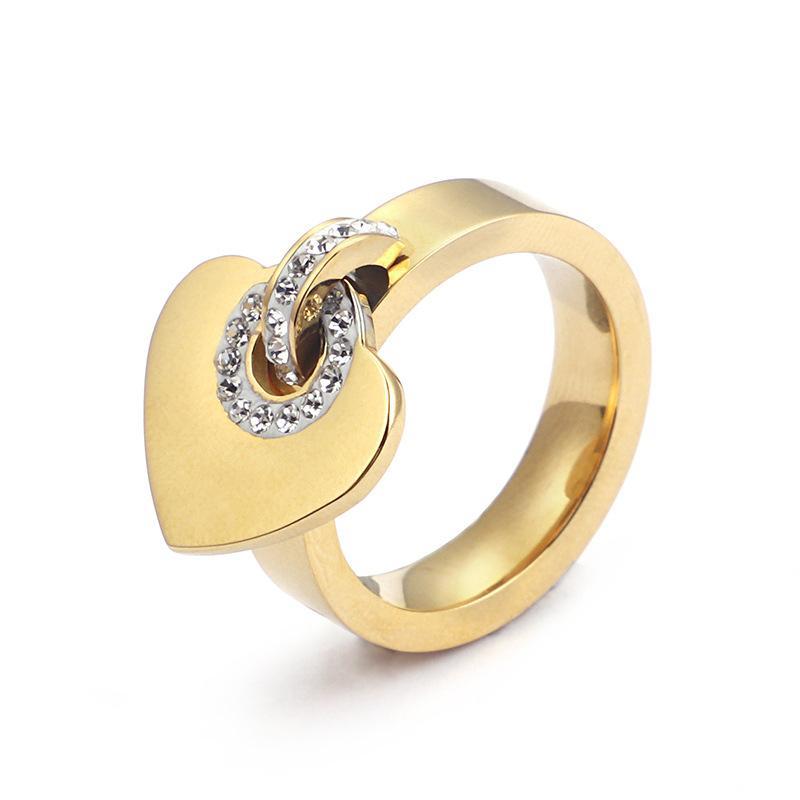 الحب الفرقة حلقات من التيتانيوم الصلب المجوهرات بالجملة الأزياء الماس شكل قلب الطلاء 18 كيلو الذهب غير القابل للصدأ الدائري للنساء هدية