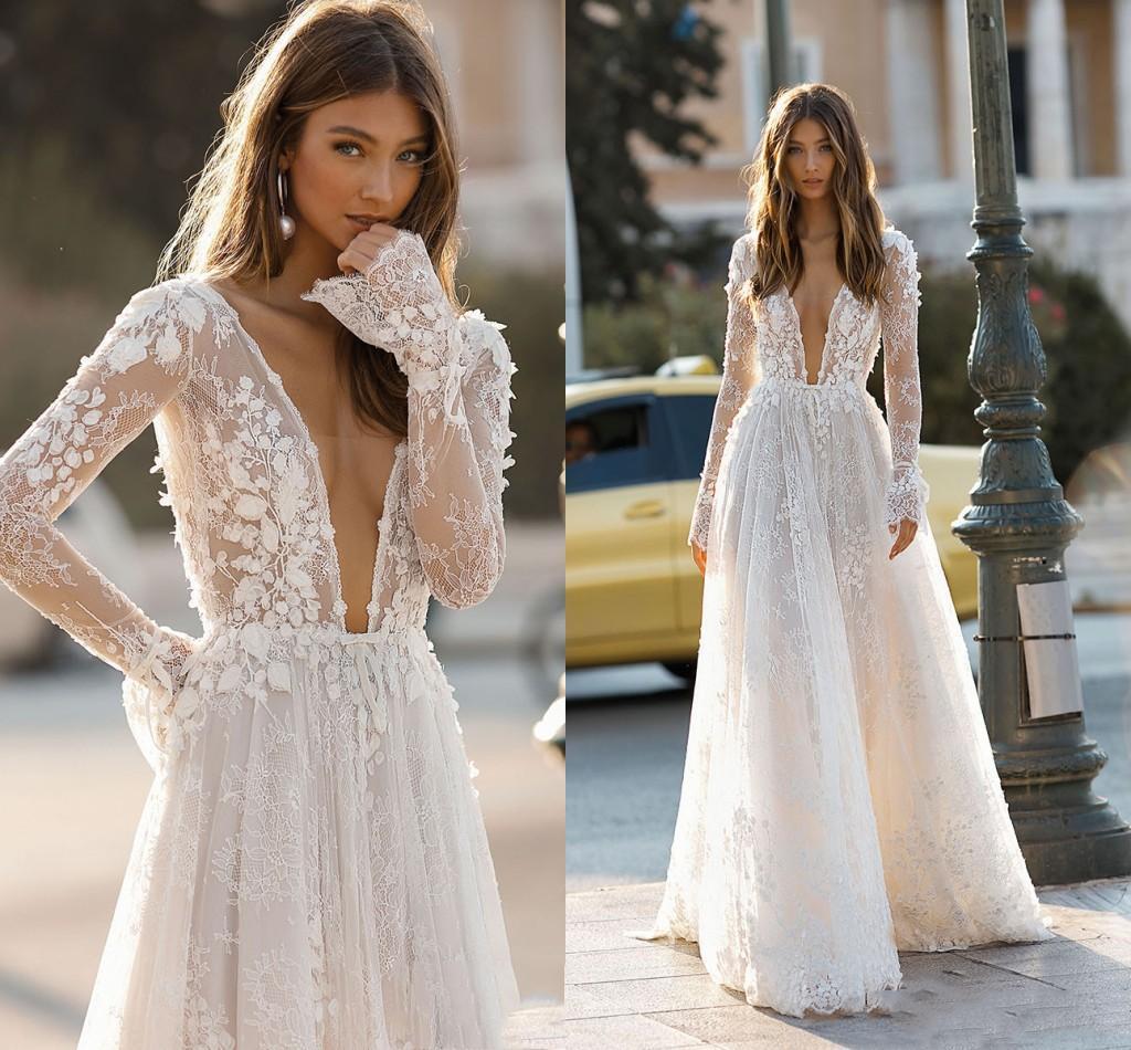 2020 elegante de la boda vestidos de Berta profundo atractivo del cuello en V sin respaldo 3D flora Apliques Playa de encaje vestido de novia personalizado Robe de mariée Q1112