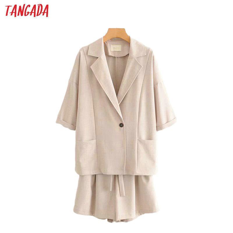 estate Tangada vestito solido donne bicchierini del vestito set 2 pezzi dolce top e shorts di alta qualità 2G03 201007