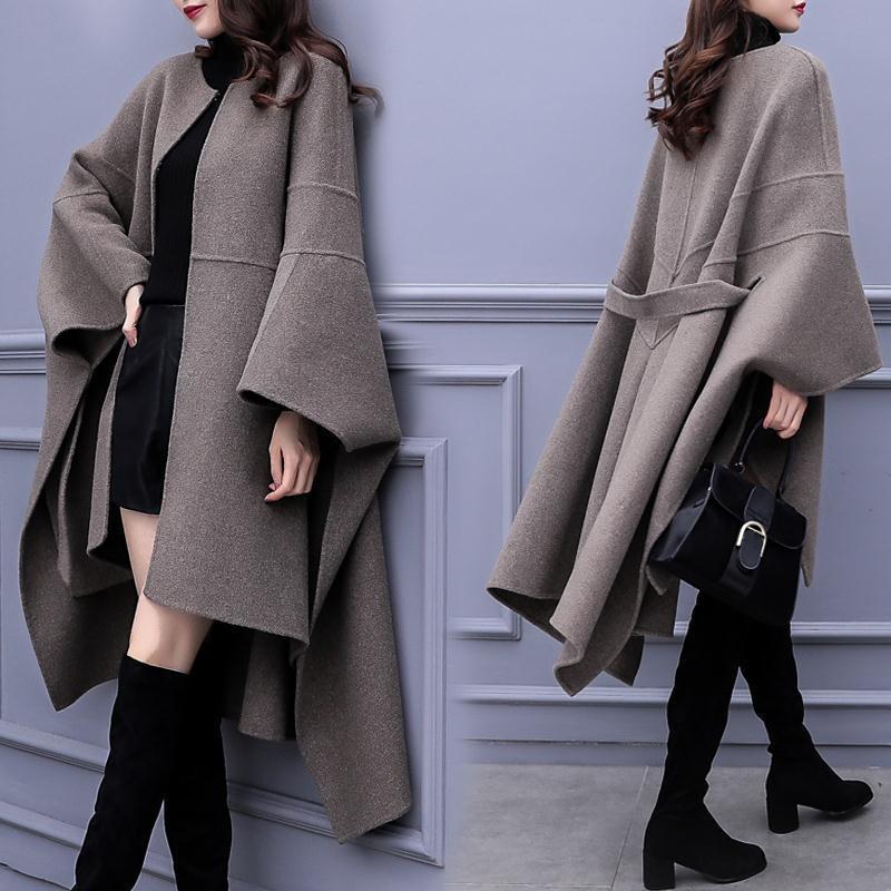Sonbahar Kış Yeni Kadın Cloak Yün Ceket Popüler Yün Ceket kadın Kore Gevşek Uzun Yüksek Kalite Palto Artı Boyutu 3XL 201103