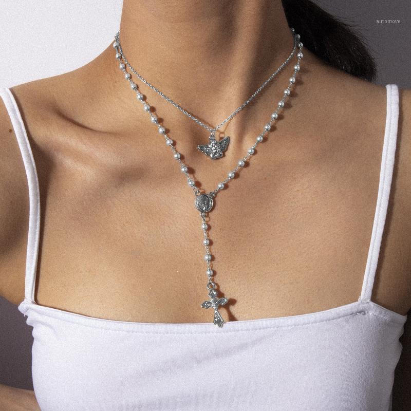 Женские ретро маленький ангел геометрия ожерелье жемчужина Y-образное кросс кисточкой ожерелье для вечеринок ювелирных изделий лучшие подарки1