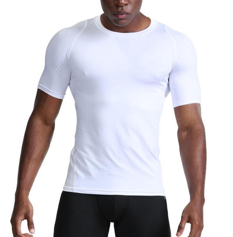 Новые мужские Gym быстросохнущие спорта бегущие дышащий с коротким рукавом O-образным вырезом футболки на открытом воздухе обучение стрейч футболки фитнес тройников S-XXL Black