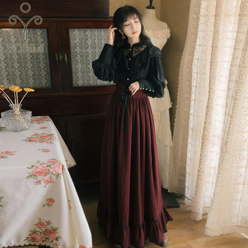 Listrado Yosimi completa duas partes saia Outfits Blusa 2020 Primavera e Black Top Set Suit camisa de manga longa Mulheres