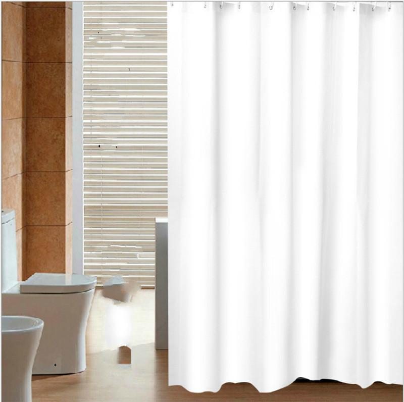 Rideau de douche PEVA solide imperméable blanc Simple Rideaux de salle de bain simples Rideau de bain à l'eau pour la maison / hôtel avec anneaux 201128