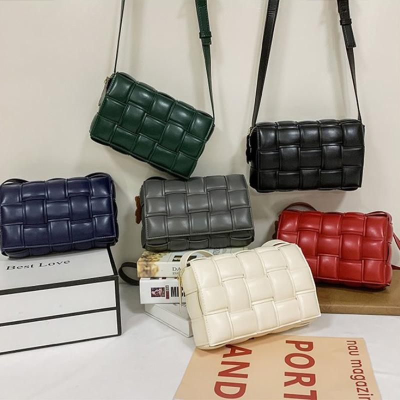 Nuevo diseñador de color sólido de tejido de color cuadrado bolsas de hombro de marca de marca de lujo PU de cuero y bolso CROSS CRUZ CUERPO C1223