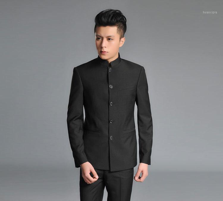 Vente en gros - Costumes pour hommes Zhongshan costume costume coréen business robe de mariée brodée dragon1
