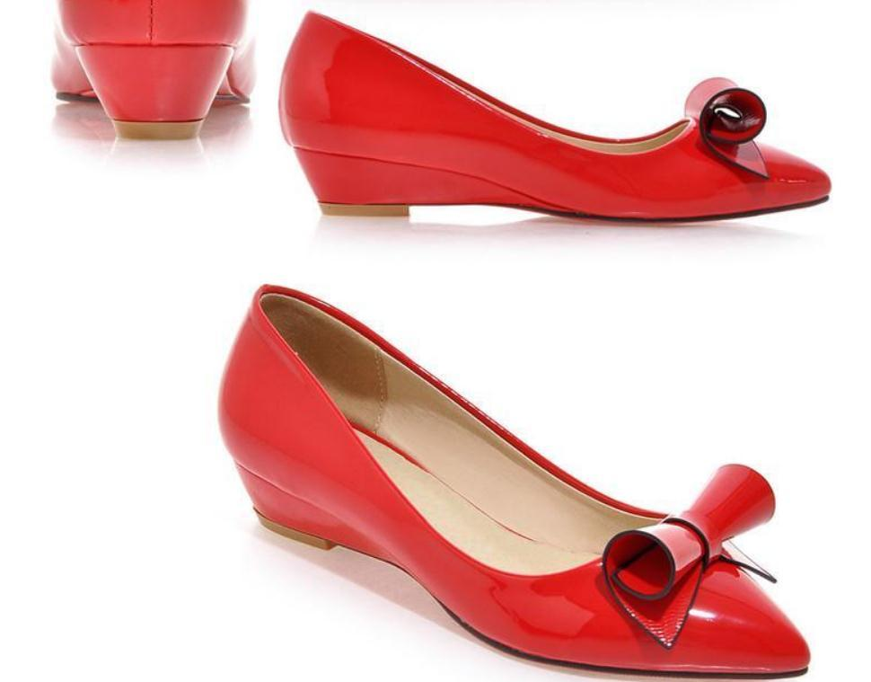 2020 printemps et l'automne avec la nouvelle extrémité pointue du talon de mode slope style bowknot Chaussures Femmes @ OLM60