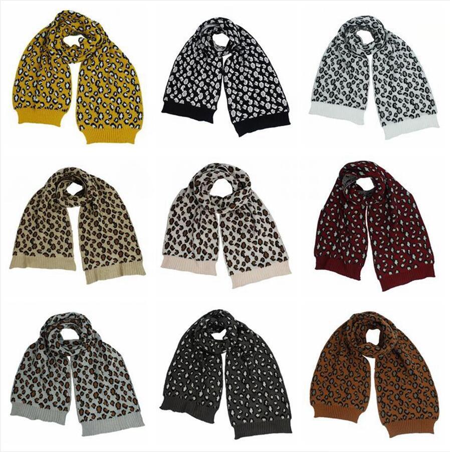 Femmes en tricot écharpe d'impression de léopard Laine Crochet Foulards en plein air chaud coupe-vent Mode Casual Echarpes doux DDA717